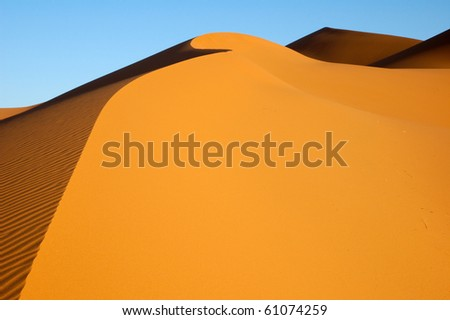 Dune flowing in the Sahara - stock photo