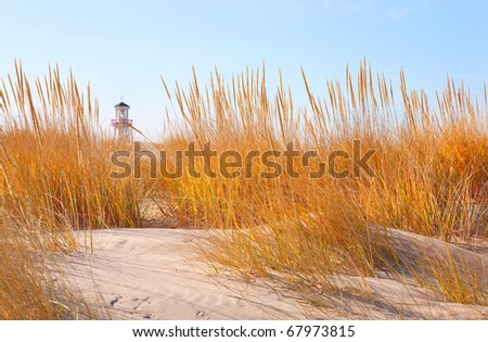 Dune grasses with lighthouse in distance - stock photo