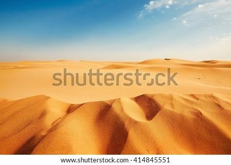 Dune of the sand - Sunny day in desert  - stock photo