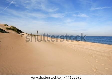 Dune on mediterranean sea coastline in Valencia Spain - stock photo