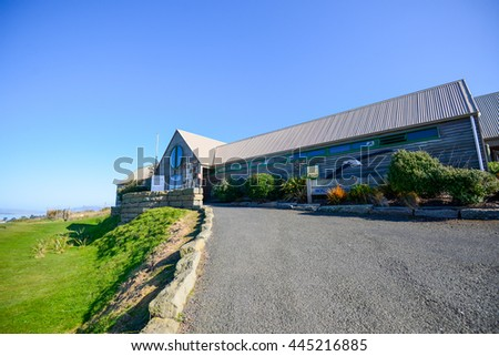 Dunedin, New Zealand: August 25, 2015- Entrance to Royal Albatross Sanctuary in Otago, Peninsula, Dunedin, New Zealand. - stock photo