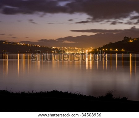 Dunedin, New Zealand, shot at sunset from across the water