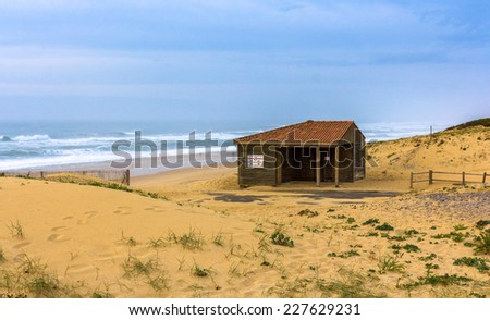 Dunes and beach in Seignosse - France - stock photo