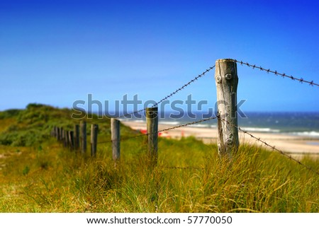 dunes and fence at ocean in the netherlands - stock photo