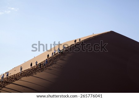 Dunes, Namibia, Namib desert, People, tourists  - stock photo