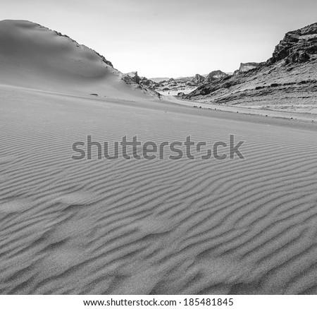 Dunes of Moon Valley in Atacama Desert, Chile (black and white) - stock photo