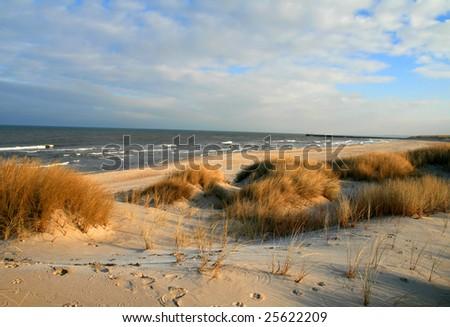 dunes on a baltic sea shore, poland near Ustka city - stock photo