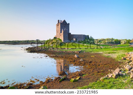 Dunguaire castle at sunset, Co. Galway, Ireland - stock photo