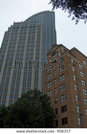 Dunhill Hotel and High-Rise Building, Tryon Street, Charlotte NC - stock photo