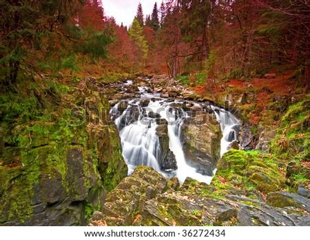 Dunkeld waterfall Scotland - stock photo