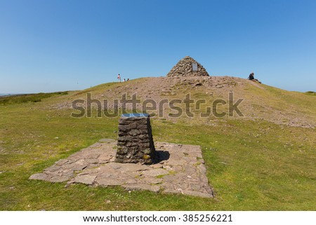 DUNKERY BEACON, SOMERSET, ENGLAND-JULY  10TH  2015: People enjoying a rest in the beautiful summer weather having climbed to the top of Dunkery Hill, Somerset on Friday 10th July 2015