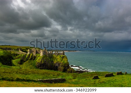 Dunluce Castle in Northern Ireland - stock photo