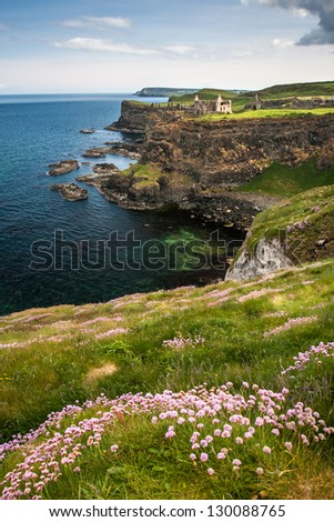 Dunluce Castle on a sea cliff of Northern Ireland