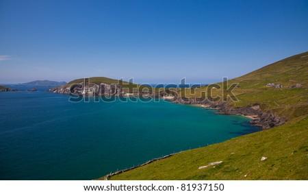 Dunmore head and beach in Coumeenoole Bay, Dingle Peninsula, Ireland. - stock photo