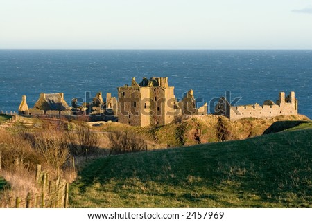 Dunnottar Castle, Stonehaven, North East Scotland, at Evening - stock photo