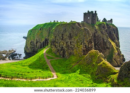 Dunnottar scottisch medieval fortress or castle. Highlands of Scotland, Uk, Europe. - stock photo