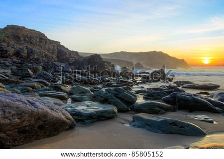 Dunquin bay beach at sunset in Co. Kerry - Ireland. - stock photo