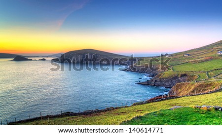Dunquin bay in Co. Kerry at sunset, Ireland - stock photo