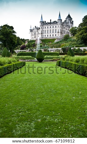 Dunrobin Castle in Sutherland, Scotland. Good for concepts linked to tales. - stock photo