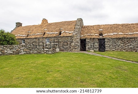 Dunrossness Croft House Museum in the Main Shetland Island northeast of Scotland, United Kingdom, which depicts 19th Century Shetland family life  - stock photo