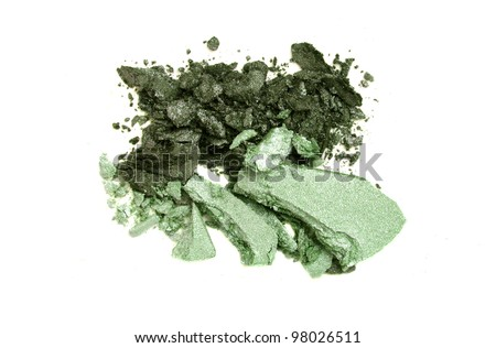 Duo dark and light green eye shadow crushed sample - stock photo