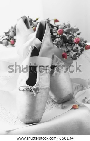 Duo Tone Ballet Toe Shoes - stock photo