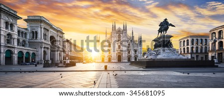 Duomo at sunrise, Milan, Europe. - stock photo