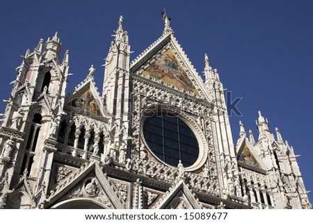 duomo cathedral facade piazza del duomo siena tuscany southern italy europe - stock photo
