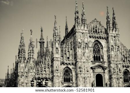 Duomo  cathedral in Milano, Italy, sepia  tones - stock photo