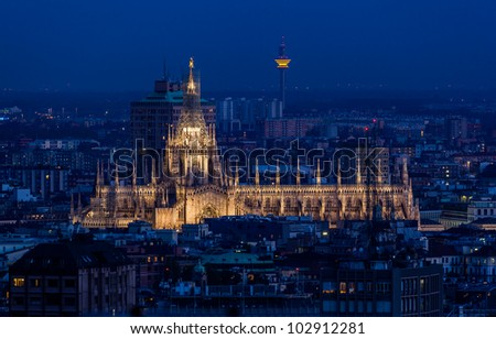 Duomo di Milano at dusk. Milan, Italy. - stock photo