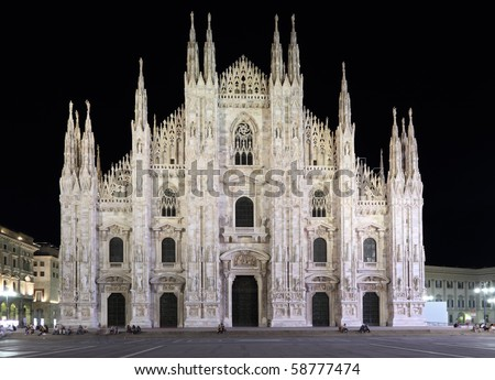 Duomo di Milano by night (Milan Italy) - stock photo