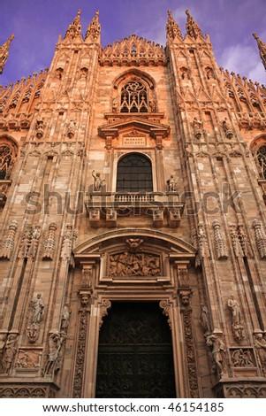 Duomo di Milano, Facade vertical view - stock photo