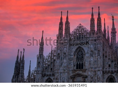 Duomo di Milano (Milan Cathedral) and Piazza del Duomo in Milan - stock photo