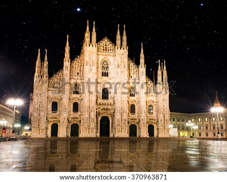 "Duomo di Milano (Milan Cathedral) and Piazza del Duomo in Milan ""Elements of this image furnished by NASA"" - stock photo"