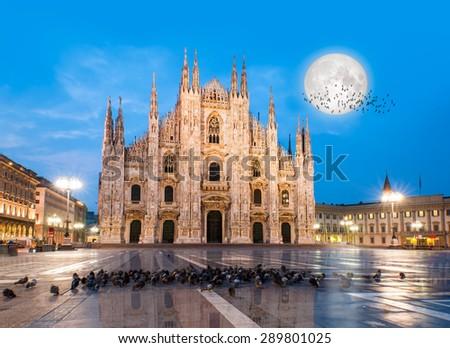 Duomo di Milano (Milan Cathedral) and Piazza del Duomo in the Morning, Milan, Italy - stock photo