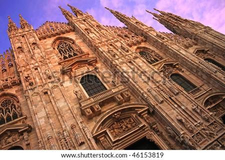 Duomo di Milano, oblique - stock photo