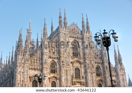 Duomo in Milan at sunset. Italy. - stock photo