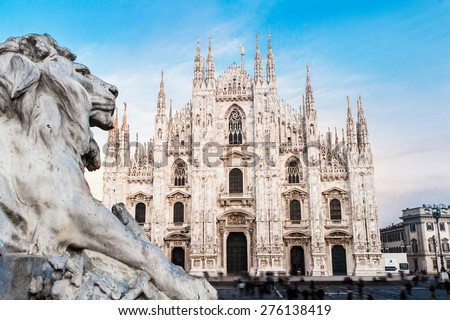 Duomo of Milan, Italy. Cathedral. Symbol of Milano.Beautiful day  - stock photo