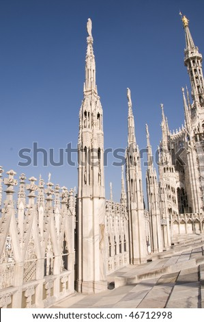Duomo of Milan, the top - stock photo