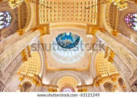 Duomo Santa Maria Del Fiore and Campanile. Florence. Inside Interior. Assumption University, Thailand - stock photo