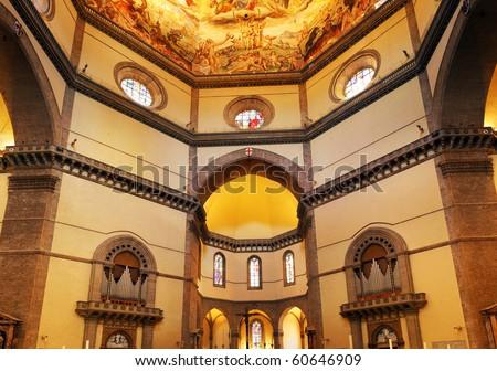 Duomo Santa Maria Del Fiore and Campanile. Florence. Inside Interior. Italy - stock photo