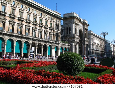 Duomo square 01, Milan, Italy - stock photo