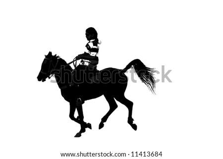 Duotone, Grey-scale of horseman - stock photo