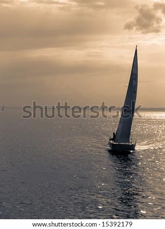 Duotone shot of sailboat on sea.