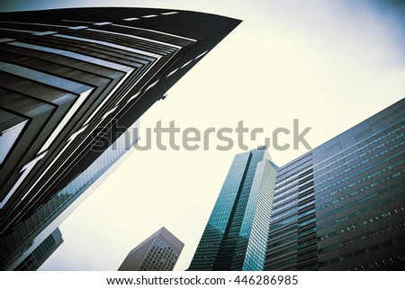 Duotune image of the skyscrapers of Ginza, Tokyo. Architectural business background. - stock photo