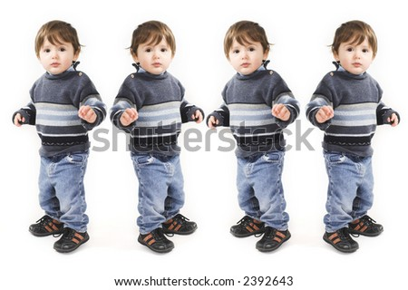 duplicate of baby standing over white background