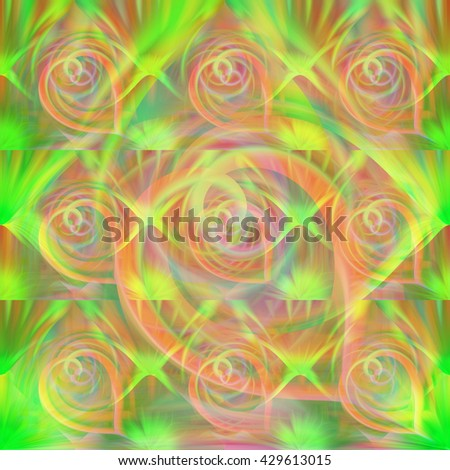 Duplicate repeat spiral abstract design neon colorful green pink orange red blue bright background backdrop symmetrical pop art  - stock photo