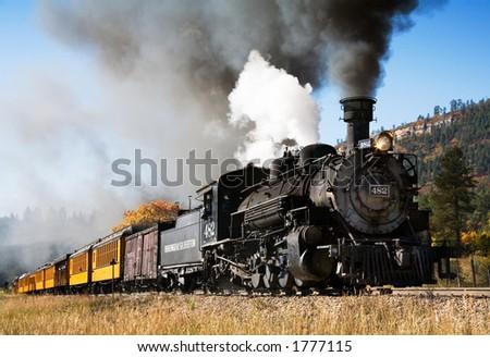Durango narrow gage railroad train - stock photo