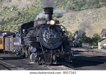 Durango & Silverton Narrow Gauge Railroad- engine 481 - 2-8-2 Mikado Type - Durango, CO - stock photo