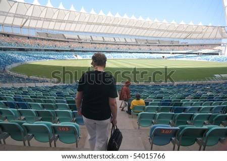 DURBAN - APRIL  5: some tourists enter inside the Moses Mabhida stadium of Durban, april 5, 2010 Durban, South Africa - stock photo